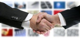 Tech tv video communication screen handshake stock image