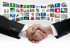 Tech tv video communication screen handshake. Tech tv video communication screen rows handshake Royalty Free Stock Image