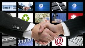 Tech tv video communication screen handshake stock images