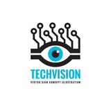Tech vision - vector logo template concept illustration. Abstract human eye creative sign. Royalty Free Stock Photos