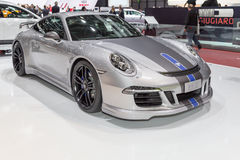 2015 TechArt Porsche 911 Carrera GTS. Geneva, Switzerland - March 4, 2015: 2015 TechArt Porsche 911 Carrera GTS presented on the 85th International Geneva Motor Royalty Free Stock Photo