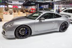 2015 TechArt Porsche 911 Carrera GTS. GENEVA, SWITZERLAND - MARCH 3, 2015: TechArt Porsche 911 Carrera GTS sports car at the 85th International Geneva Motor Show Royalty Free Stock Photos