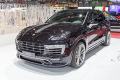 2015 TechArt Porsche Cayenne Turbo. Geneva, Switzerland - March 4, 2015: 2015 TechArt Porsche Cayenne Turbo presented on the 85th International Geneva Motor Show Royalty Free Stock Images