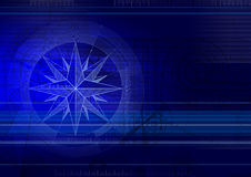 Techbackground with windrose blue Royalty Free Stock Photo