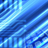 Techie Background. Blue stripes background with cell phone Royalty Free Stock Photo