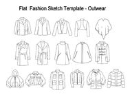 Techincal and Industrial Flat fashion template - Library of coats and outwear Stock Images