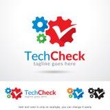 Techkontroll Logo Template Design Vector Royaltyfri Illustrationer