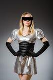 Techkvinna i futuristiskt Arkivbild