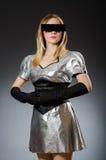 Techkvinna i futuristiskt Arkivfoton