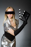 Techkvinna i futuristiskt Arkivfoto
