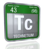 Technetium symbol in square shape with metallic border and transparent background with reflection on the floor. 3D render. Element number 43 of the Periodic vector illustration