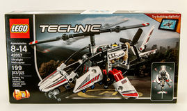 Technic Lego box. New York, May 26, 2017: Technic Lego assembly kit stands against white background Royalty Free Stock Photos