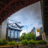 Technic museum Berlin view from the Spree river stock image