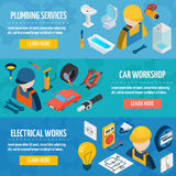 Technic Professions Isometric Banner Set Stock Images