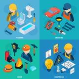 Technic Professions Isometric Icon Set Stock Photo