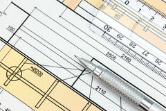 Technical or architectural blueprint and pencil with ruler Royalty Free Stock Images