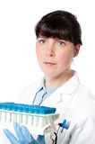 Technical assistant with medical or biological samples Stock Images