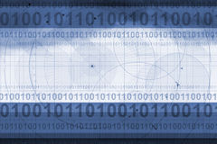 Technical background. Illustration of technical blue background with binary code Stock Image