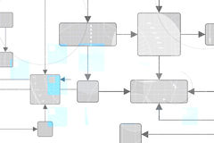 Technical Background. With flow chart design in gray, white and some blue markings Royalty Free Stock Photography