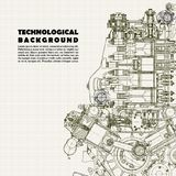 Technical background, drawing  engine and space for your text. Royalty Free Stock Photography