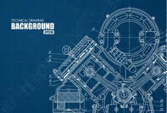 Technical background with drawings Stock Photo