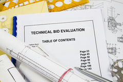 Technical Bid. Evaluation brochure with blueprint and pencil royalty free stock images