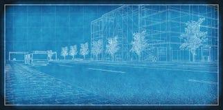 Technical Blueprint. Of an urban development Stock Photos