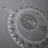 Technical blueprint, black and white vector digital background w. Ith geometric design elements, circles. 3d illustration of engineering system, perspective Stock Photography