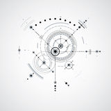 Technical blueprint, black and white vector digital background w Royalty Free Stock Image