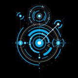 Technical blueprint, blue vector digital background with geometr Stock Photography