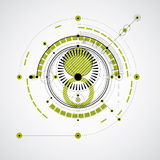 Technical blueprint, green vector digital background with geomet. Ric design elements, circles. Illustration of engineering system, abstract technological Stock Photos