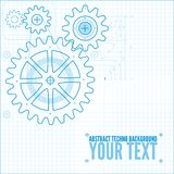 Technical blueprint illustration. Technical blueprint template illustration on white vector background with cogs Royalty Free Stock Photo