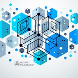 Technical blueprint, vector blue digital background with geometric design elements, cubes. Engineering technological wallpaper royalty free illustration