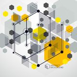 Technical blueprint, vector yellow digital background with geome. Tric design elements, cubes. Engineering technological wallpaper made with honeycombs stock illustration
