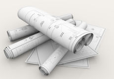 Technical blueprints. Rolls of technical blueprints on white background Royalty Free Stock Images