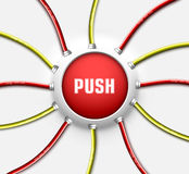 Technical button push with wire background. Vector Royalty Free Stock Image