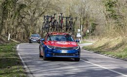 Technical Car of Bahrain-Merida Team - Paris-Nice 2019 royalty free stock images
