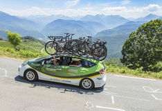Technical Car of Europcar Team - Tour de France 2015. Col D'Aspin,France- July 15,2015: Technical car of Europcar Team, driving on the road to Col D'Aspin  in Stock Photos