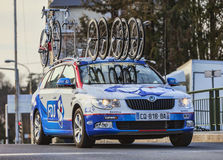 Technical Car of FDJ Procycling Team. Nemours,France- March 4, 2013: The technical car of FDJ Team on the roadduring the first stage of the famous road bicycle Stock Images