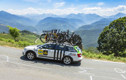 Technical Car of MTN-Qhubeka Team - Tour de France 2015. Col D'Aspin,France- July 15,2015: Technical car of MTN-Qhubeka Team, driving on the road to Col D'Aspin Royalty Free Stock Image