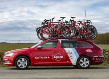Technical Car of Team Katusha Alpecin - Paris-Nice 2018 royalty free stock images