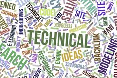 Technical, conceptual word cloud for business, information technology or IT. stock illustration