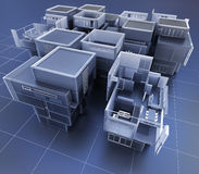 Technical construction. 3D rendering of a group of professional buildings Royalty Free Stock Photos