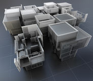 Technical construction. 3D rendering of a group of professional buildings Stock Photos
