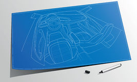 Technical crosslane coupe concept car drawing Stock Photos