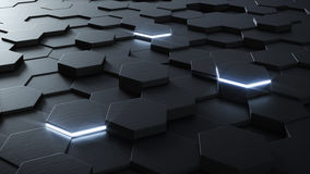 Technical 3D hexagonal background design Stock Photos