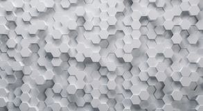 Technical 3D white hexagonal background structure. White 3D hexagons structure background. ideal for websites and magazines layouts Royalty Free Stock Images