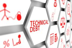 Technical debt concept. Cell blurred background 3d illustration Royalty Free Stock Photo