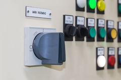 Technical display on control panel with electrical equipment dev Stock Image
