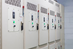 Technical display on control panel with electrical equipment dev Stock Images